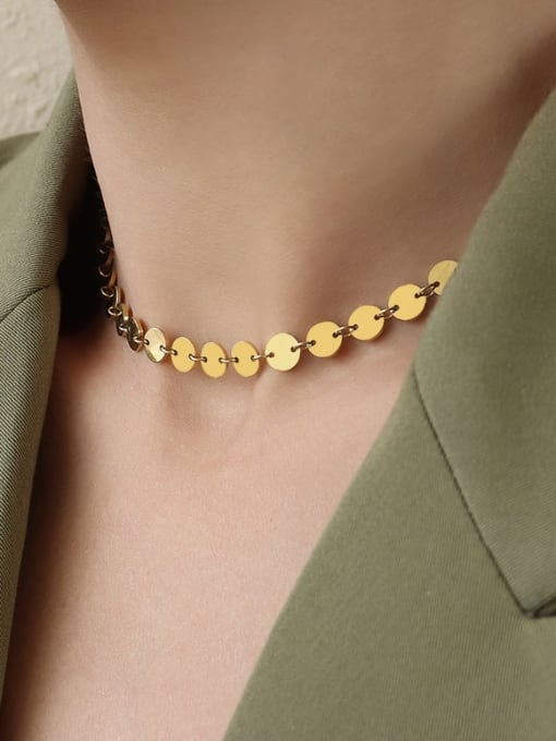 MAKA Titanium Steel Smooth Geometric Vintage Necklace 1