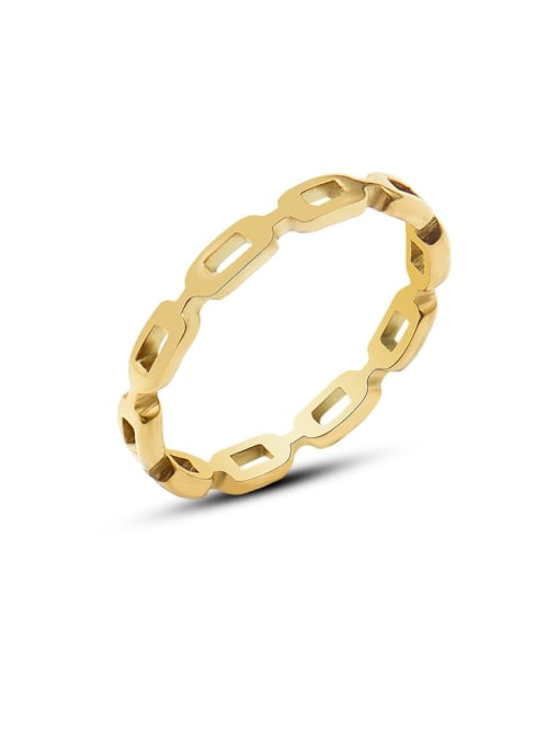 Gold knuckle hollow out ring Titanium Steel Geometric Minimalist Band Ring