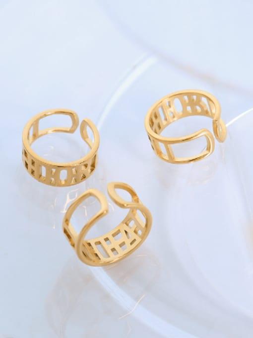 MAKA Titanium Steel Geometric Minimalist HollowLetter Band Ring 2