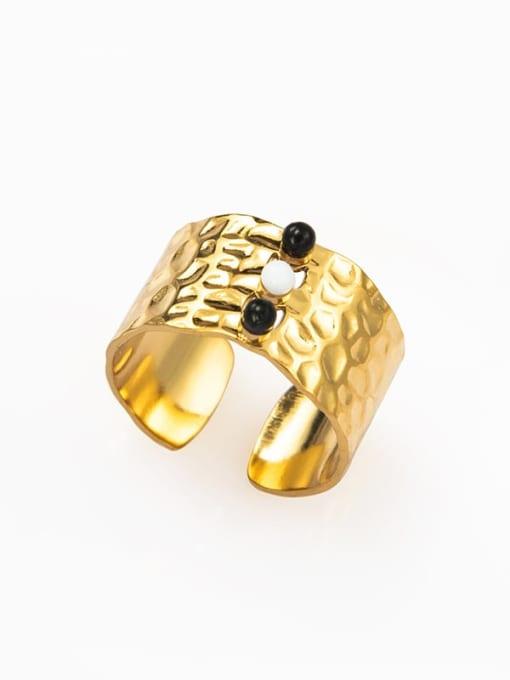Black European and American retro opening inlaid gem titanium steel ring