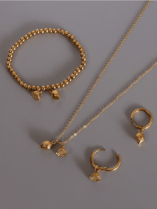 MAKA Titanium Steel Vintage Flower  Bangle Earring and Necklace Set 1