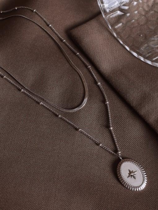 MAKA Titanium Steel Geometric Vintage Multi Strand Necklace 4