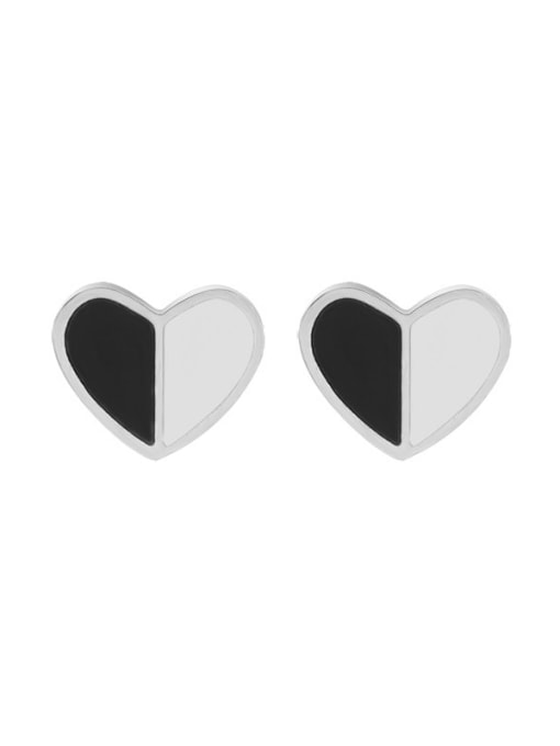 f411 Steel Titanium Steel Shell Heart Minimalist Stud Earring