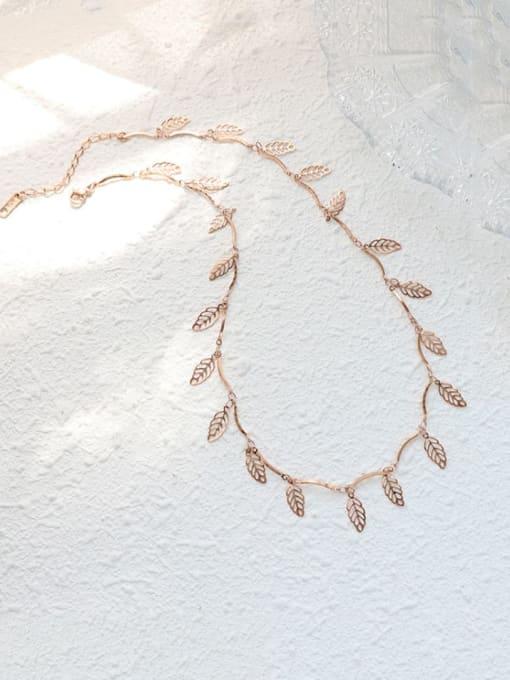 Rose gold Titanium Steel Leaf Vintage Necklace