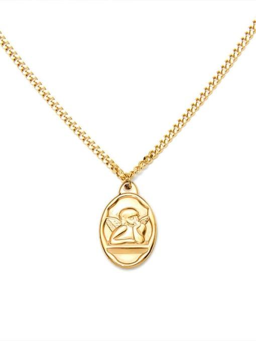 MAKA Titanium Steel Angel Vintage Geometric  Pendant Necklace