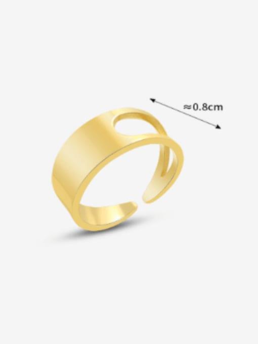 MAKA Titanium Steel Smooth Geometric Minimalist Band Ring 3