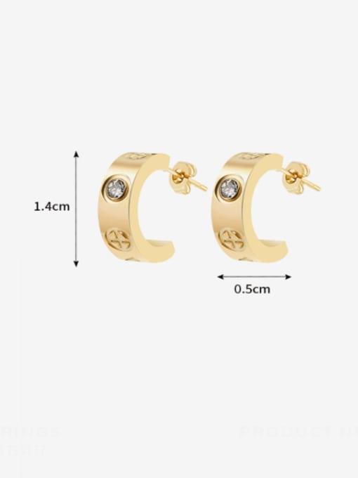 MAKA Titanium Steel Rhinestone Geometric Minimalist Stud Earring 2