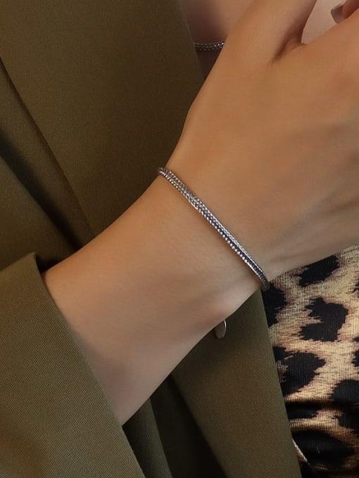 E247 steel hollow chain bracelet 15 cm Titanium Steel Vintage Irregular  Bangle and Necklace Set