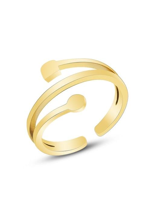 A267 gold ring Titanium Steel Smooth Irregular Minimalist Band Ring
