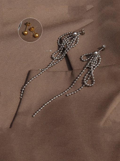 MAKA Titanium Steel Bead Tassel Vintage Drop Earring 2