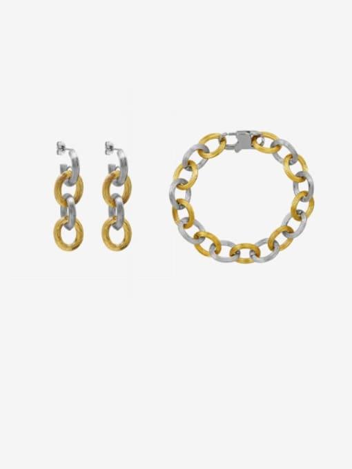 MAKA Titanium Steel  Hip Hop Geometric Earring and Bangle Set 1