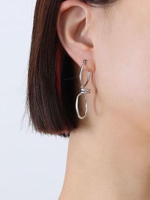 Steel zigzag kink Earrings f537 Titanium Steel Geometric Minimalist Drop Earring