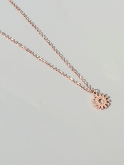Rose gold necklace 40+5cm Titanium Steel Minimalist Irregular Sun Pendant Necklace