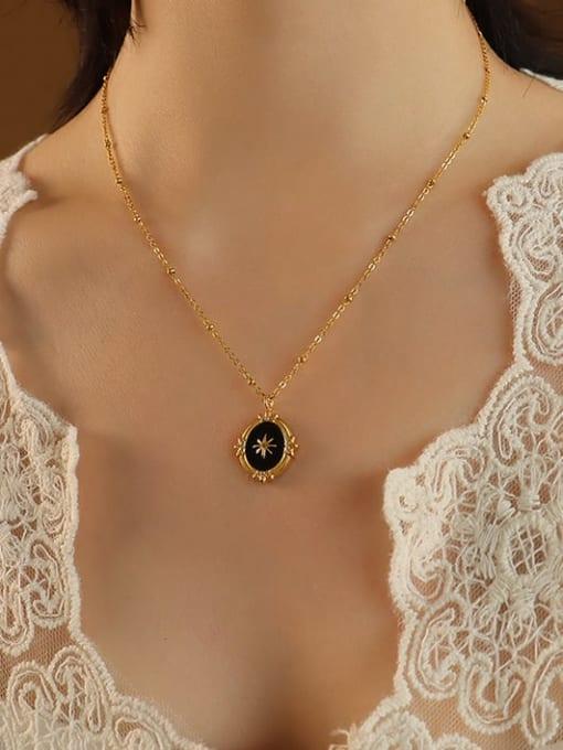 MAKA Titanium Steel Enamel Geometric Vintage Necklace 1