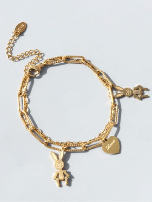 MAKA Titanium Steel Heart Vintage Strand Bracelet 0
