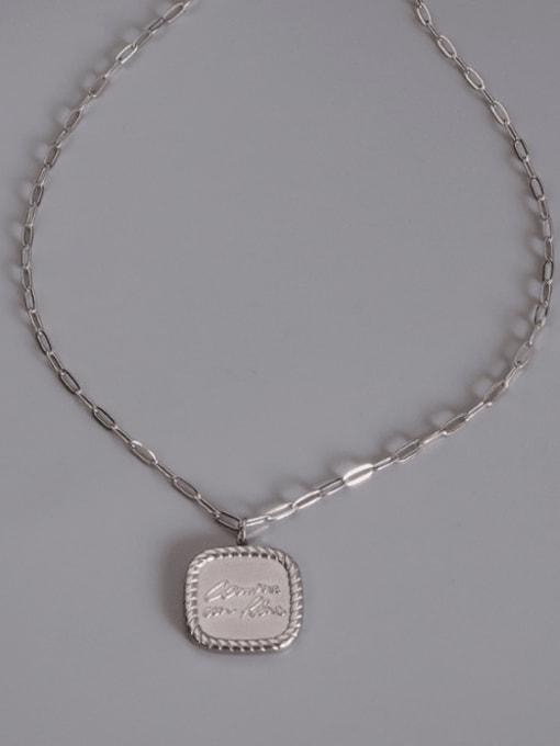 Steel square Necklace 405cm Titanium Steel Geometric Minimalist Necklace