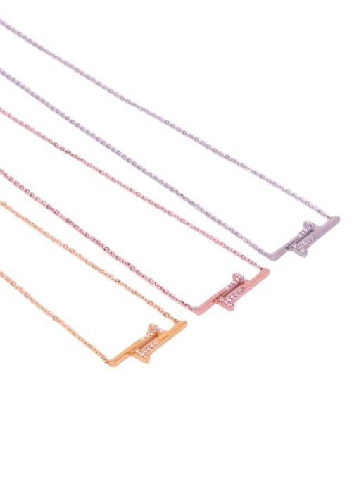 K.Love Titanium Steel Rhinestone Geometric Minimalist Necklace 3
