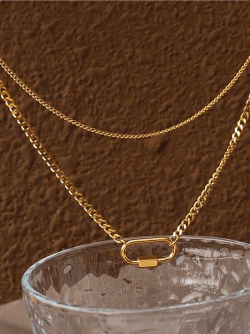 MAKA Titanium Steel Geometric Pin Vintage Multi Strand Necklace 2