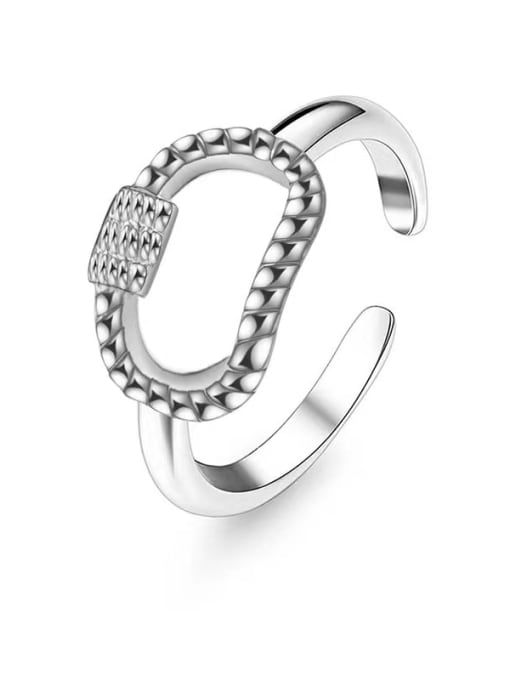 Silver Shangshan buckle design stainless steel ring