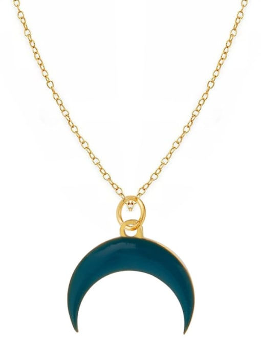 YAYACH Fashion Candy Color Water Drop Crescent Pendant Titanium Steel Necklace 2