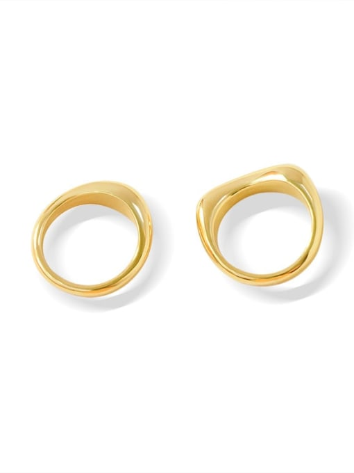 A113 gold ring Titanium Steel  Smooth Geometric Minimalist Band Ring