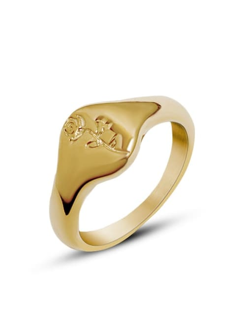 A218 gold rose ring Titanium 316L Stainless Steel Flower Vintage Band Ring with e-coated waterproof