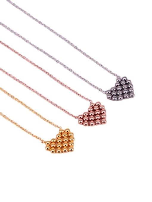 K.Love Titanium Steel Smooth Bead Heart Minimalist Necklace 4