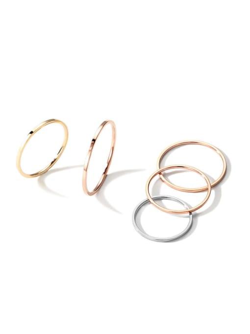 MAKA Titanium Steel Geometric Minimalist Band Ring
