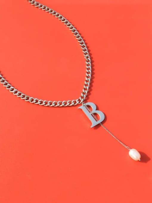 MAKA Titanium Steel Imitation Pearl Tassel  Letter B Vintage Necklace 2