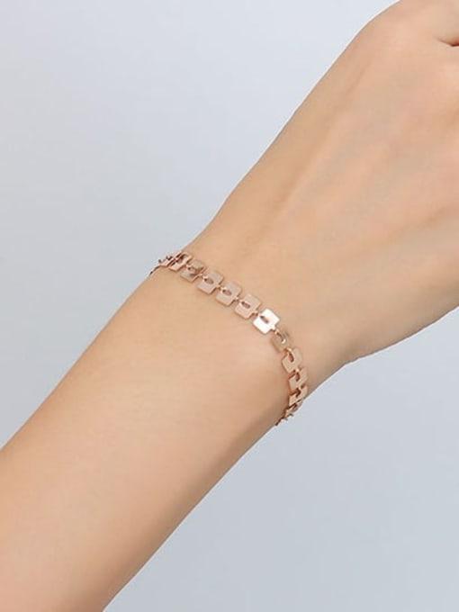 E143 rose brand Bracelet 15+ 5cm Titanium Steel Geometric Minimalist Link Bracelet