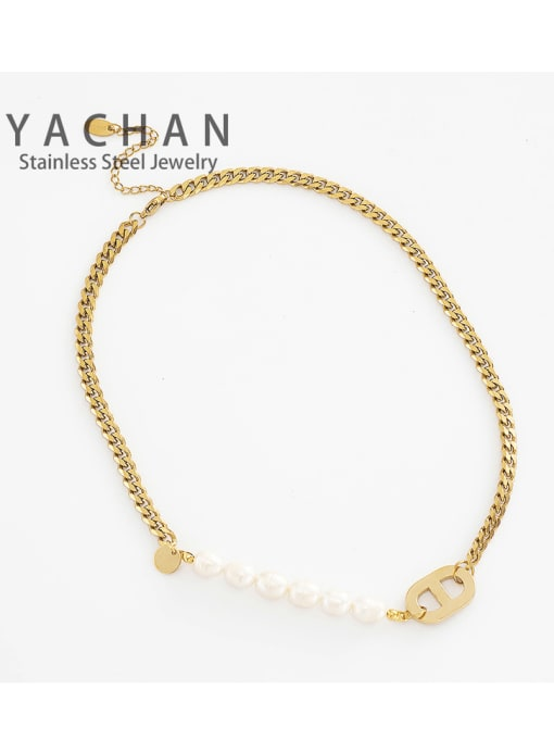 YAYACH Titanium steel necklace Cuban chain stitching freshwater pearl pig nose 2
