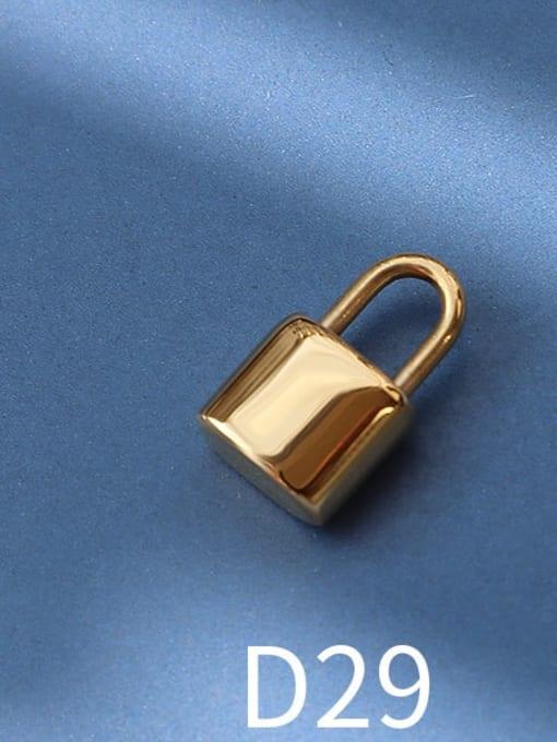 D29 gold lock Titanium Steel Cute  Lock Heart Pendant