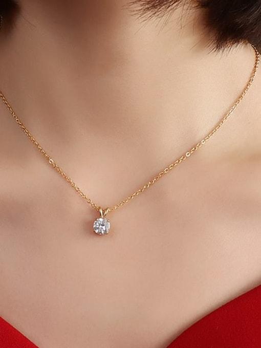 Gold 40+5cm Titanium Steel Cubic Zirconia Geometric Minimalist Necklace