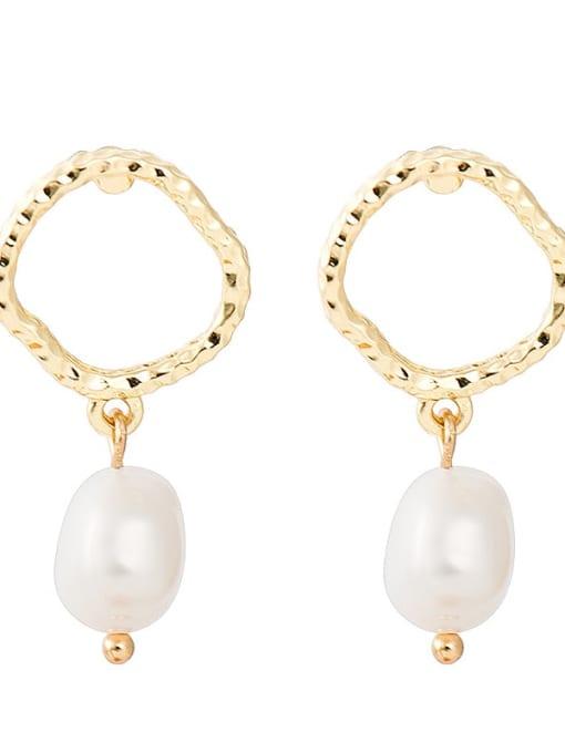YAYACH Creative Korean Pearl Earrings European and American temperament dumb gold geometric female Earrings 2