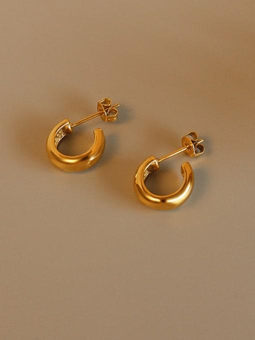 MAKA Titanium Steel Geometric Minimalist Smooth C shape Stud Earring 2