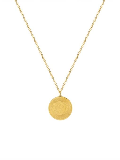 Gold Titanium Steel Geometric Vintage Necklace