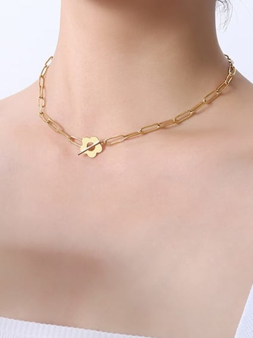 P547 gold necklace 38cm Titanium Steel Geometric Hip Hop Necklace