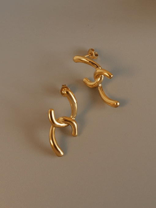 gold Titanium 316L Stainless Steel Irregular Minimalist Stud Earring with e-coated waterproof