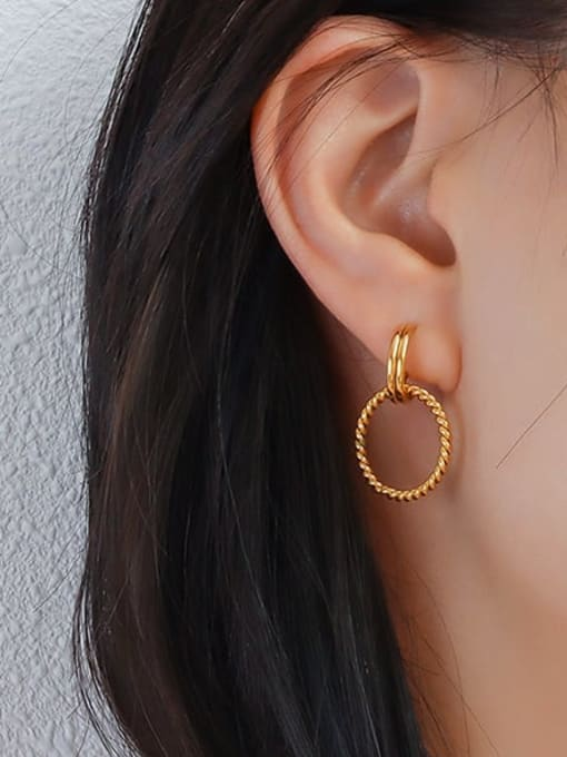 MAKA Titanium Steel Geometric Minimalist Drop Earring 1