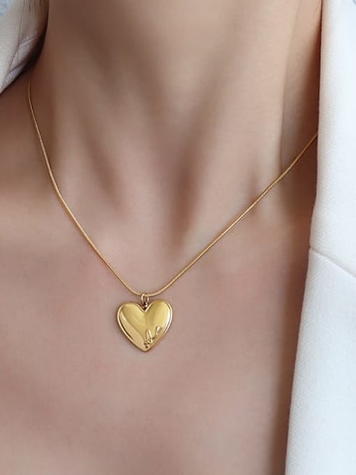 MAKA Titanium 316L Stainless Steel Heart Letter Minimalist Necklace with e-coated waterproof 3