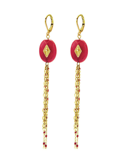 Red Malachite long titanium steel earrings