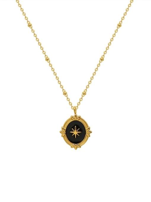 MAKA Titanium Steel Enamel Geometric Vintage Necklace 0