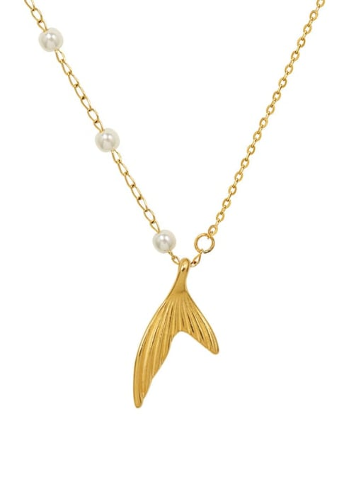 MAKA Titanium Steel Imitation Pearl Fish Minimalist Necklace
