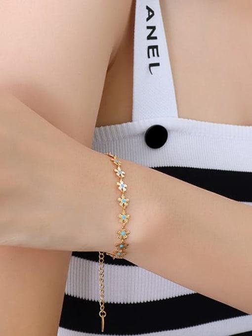 MAKA Titanium Steel Enamel Minimalist Flower  Bracelet and Necklace Set 2