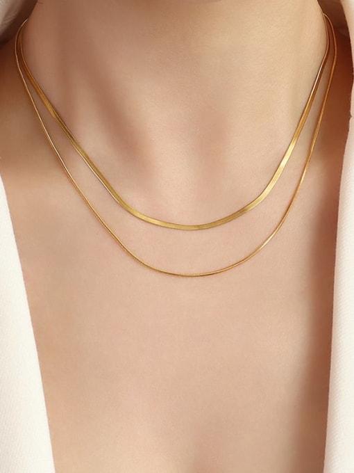 MAKA Titanium Steel Geometric Minimalist Multi Strand Necklace 1