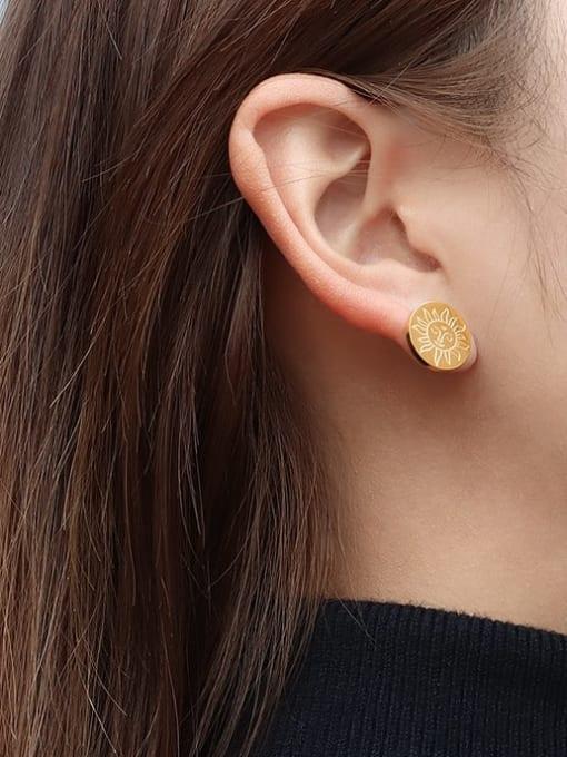MAKA Titanium Steel Round Minimalist Stud Earring 1