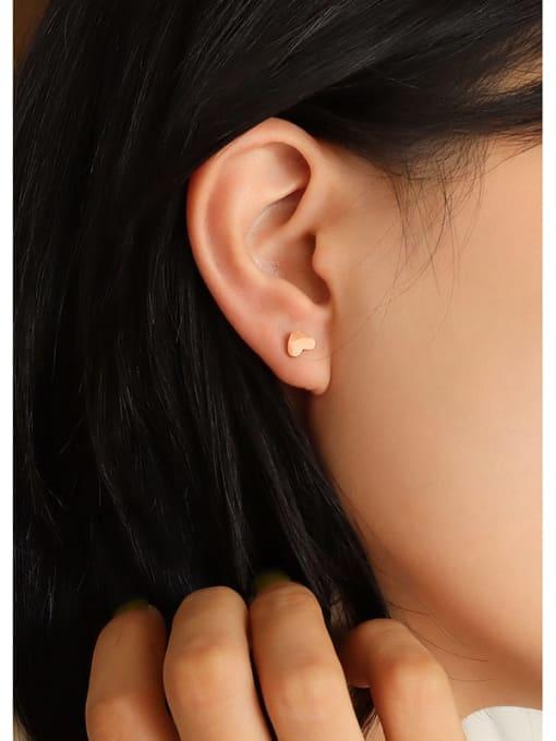 Rose Gold Titanium Steel Smooth Heart Minimalist Stud Earring