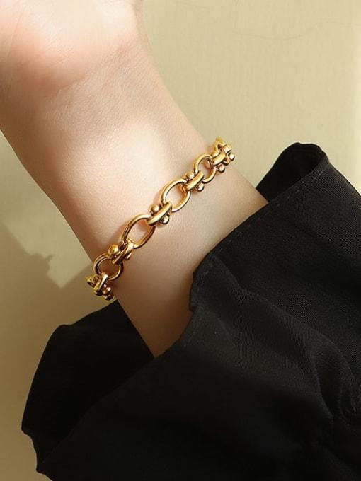 MAKA Titanium Steel Hollow  Geometric Chain Vintage Link Bracelet 1