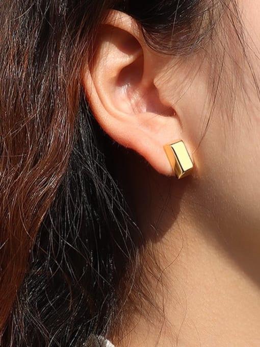 MAKA Titanium Steel Smooth Geometric Minimalist Stud Earring 1