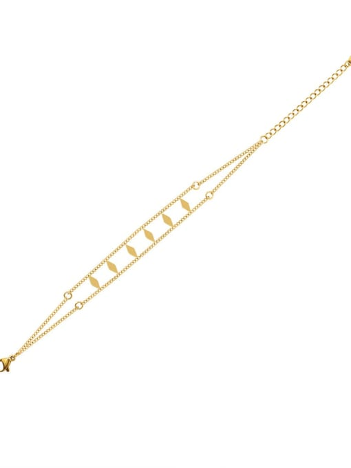 E262 gold bracelet 15 +5cm Titanium Steel Geometric Hip Hop Strand Bracelet